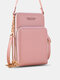Simple All-match Multi-slots Stitch Detail Multi-pockets Touch Screen 6.8 Inch Phone Bag - Light Pink