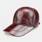 Men's Leather Hat First Layer Cowhide Casual Dome Duck Tongue Earmuffs Adjustable Big Brim Baseball Cap - #02
