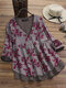 Fake Two Pieces Print Patchwork Long Sleeve Vintage Blouse