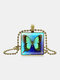 Vintage Square Glass Printed Women Necklace Butterfly Pendant Sweater Chain Jewelry Gift - Bronze