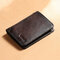 Men Genuine Leather RFID Anti-theft Retro Large Capacity Foldable Card Holder Wallet - Coffee