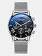 11 Colors Men Business Watch Leather Alloy Mesh Band Calendar Luminous Quartz Watch - #04