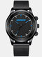 9 Colors Leather Alloy Men Business Watch Decorated Pointer Quartz Watch - Alloy: Black Band Blue Pointer