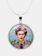 Printed Woman Black Cat Glass Pendant Men Women Long Necklace Jewelry Gift - #10