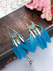 Alloy Feather Bohemia Fringed Feather Earrings Long For Women - Blue.