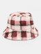 Women Lamb Fur Contrast Color Warm Casual Couple Hat Bucket Hat - Pink