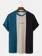 メンズブロックストライプパッチワーク刺繍ニット半袖プレッピーTシャツ - 青