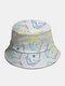 Cappello intero in cotone unisex Poker Modello Cappello da pescatore moda in tinta unita con stampa - bianca