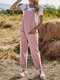 Plain Knotted Pocket Sleeveless Casual Cami Jumpsuit For Women - Pink