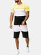 Mens Patchwork Sport Two Pieces Elastic Breathable Training Casual Sets - Yellow