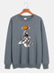 Mens Cartoon Astronaut Chest Print Solid Loose Daily Pullover Sweatshirts - Grey