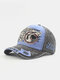 Men Washed Cotton Letter Pattern Patch Baseball Cap Outdoor Sunshade Adjustable Hats - Blue