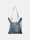 Women Canvas Cat Dog Handbag Shoulder Bag Tote - #02