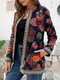 Ethnic Style Floral Print Plus Size Jackets - Navy