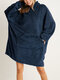 Women Bedsure Cozy Oversized Wearable Blanket Hoodie Warm Double Plush Robe With Large Front Pocket - Navy