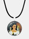 Cartoon Printed Men Women Necklace Adjustable Woman Wearing Flowers Glass Pendant Leather Necklace - #09