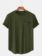 Men Cotton Plain Chest Pocket Home Casual Loose Short Sleeve T-Shirt 11 Colors - Army Green