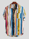 Mens Multi Color Graffiti Chest Pocket Round Hem Loose Short Sleeve Shirts - Yellow