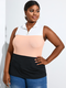 Patchwork Zip Front Sleeveless Plus Size Tank Top - Pink