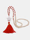 Bohemian Handmade Wooden Beaded Necklace Long Five-Pointed Star Tassel Sweater Chain - Red