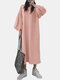 Solid Color Lantern Sleeves O-neck Casual Dress For Women - Pink