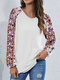 Floral Print Long Sleeve V-neck Casual T-shirt for Women - White