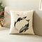 Minimalist Black&White Whale Pattern Linen Throw Pillow Cover Home Sofa Art Decor Office Pillowcases