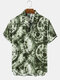 Mens Vintage Tie Dye Abstract Printed Short Sleeve Shirts - Army Green