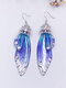 Vintage S925 Sterling Silver Butterfly Long Cicada Wings Gradient Earrings - 2