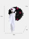 1 PC Halloween Wreath Scary Black White Skull Rose Decorative Hanging Ornament For Home Party Indoor Outdoor - White