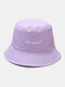 Unisex Cotton Letter Pattern Embroidery Solid Color Simple Bucket Hat - Light Purple