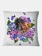 Gatti neri e fiori Modello Fodera per cuscino in lino Divano per la casa Art Decor Federa da tiro - #02