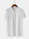 T-shirt décontracté à col en V de couleur unie 100% coton pour hommes - blanc