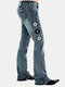 Vintage Embroidery Button Casual Demin Jeans For Women - Blue