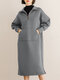 Solid Color Zipper Pocket Long Sleeve Casual Dress for Women - Gray
