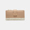 Women Genuine Leather 12 Card Slots Patchwork Floral Photo Card Money Clip Coin Purse Multifunctional Wallet - Apricot