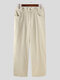 Plus Size Mens Solid Color Zipper Fly Casual Straight-Leg Pants - Beige
