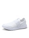 Women Large Size Solid Mesh Breathable Walking Shoes - White
