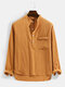 Mens Solid Color Chest Pocket Casual Basic Long Sleeve Henley Shirt - Brown