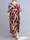 Abstract Painted Loose O-neck Half Sleeve Women Vintage Dress - Red