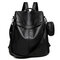 Women PU Soft Leather Anti-theft Backpack Casual Shoulder Bag - Black