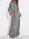 Solid Color Long Sleeves Casual Hooded Maxi Dress - Light Grey