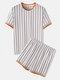 男性のためのOネック居心地の良いパッチワークストライプパジャマ半袖ホームラウンジウェア - 白い