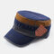 Men & Women Contrasting Color Stitching Fashion Casual Military Hat Flat Cap - Navy