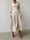 Women Solid Color Patchwork Puff Sleeves V-neck Casual Dress - Beige