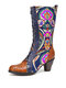SOCOFY Genuine Leather Floral Embroidery Splicing Comfy Warm Chunky Heel Mid-calf Boots - Brown