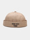 Unisex Cotton Solid Color Letter Embroidery All-match Brimless Beanie Landlord Cap Skull Cap - Khaki