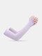 Женщины ледяной шелк сплошной цвет письмо печати длинные рукава защиты от солнца - Фиолетовый1