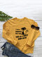 Cartoon Cat Letters Printed Long Sleeve O-neck Casual Sweatshirt For Women - Yellow