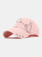 Unisex Cotton Chain Ring Decor Fashion Cool Sunshade Baseball Hat - Pink